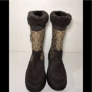 COACH SHERMAN SIG MID FLEECE LINED BOOTS WOMENS